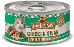 Merrick Canned Purrfect Bistro Grain Free Chicken Divan Morsels in Gravy Cat Food