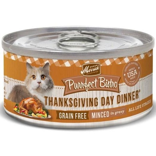 Merrick Canned Purrfect Bistro Grain Free Minced Thanksgiving Day Dinner Cat Food