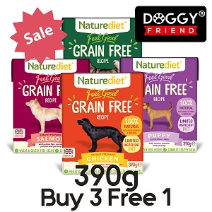 [BUY 3 FREE 1] Naturediet Feel Good Grain Free Dog Food 390g