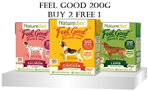 [NEW LAUNCH PROMO - BUY 2 FREE1] Naturediet Feel Good Dog Food 200g