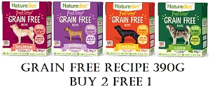 [NEW LAUNCH PROMO - BUY 2 FREE1] Naturediet Feel Good Grain Free Dog Food 390g