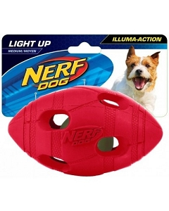 Nerf Dog Illuma-Action - Light Up LED Football M - Blue/Red