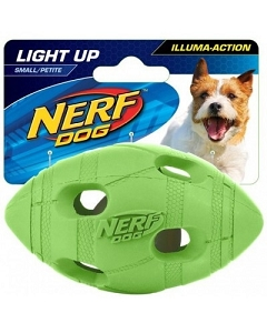 Nerf Dog Illuma-Action - Light Up LED Football S - Green/Orange