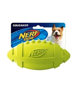 Nerf Dog Squeaker Rubber Football M - Blue/Green