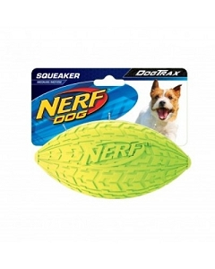 Nerf Dog Squeaker Tire Football S - Green/Red