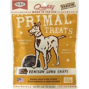 Primal Dry Roasted Venison Lung Snaps Dog Treats