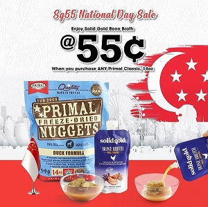 [SG55 - Bone Broth at $0.55] Primal Freeze Dried Canine and Solid Gold Bone Broth