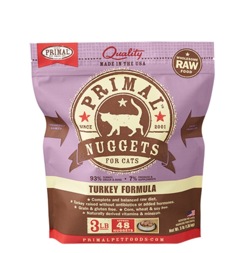 Primal Raw Turkey Frozen Nuggets for Cats