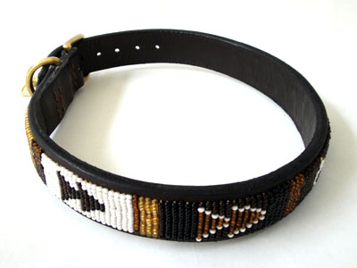 Kenyan Beaded Leather Pet Collar - Earth Tone