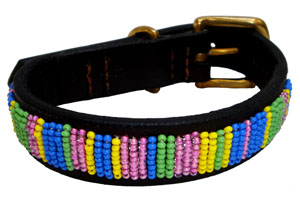 Kenyan Beaded Leather Pet Collar - Meadow Stripes
