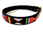 Kenyan Beaded Leather Pet Collar - Primary Color