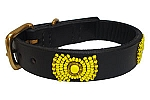 Kenyan Beaded Leather Pet Collar - Sunshine
