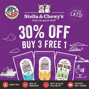[SEPT SALE -  30% OFF + BUY 3 FREE 1] Stella & Chewy's Cat Raw Coated Kibble