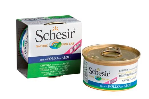 Schesir Canned Chicken Fillet with Aloe in Jelly For Kittens Cat Food