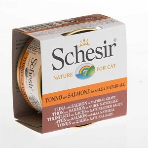 Schesir Canned Tuna with Salmon in Natural Gravy Cat Food