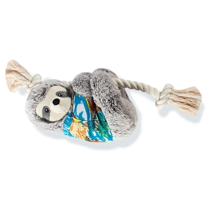 Fringe Studio Slowin' Down For Summer Sloth on a Rope with Dog Squeaker Plush Toy