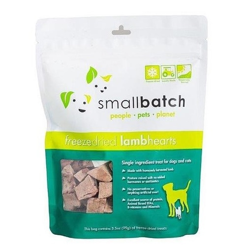 Small Batch Freeze Dried Lamb Hearts Cat & Dog Treat 3.5oz