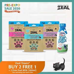 [Pre-Expo 2020 SALE] Zeal Free Range Naturals Freeze Dried Morsels Cat Treats - Buy 2 Free 1 + FREE MILK 380ml
