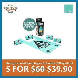 [PETS SINGAPORE SALE 2021 - 5 fOR $39.90] FuzzYard Poop Bags Orange Scented with Handles