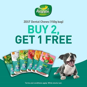 [PROMO till 30th June - Buy 2 Free 1] Happi Doggy Zest 150g