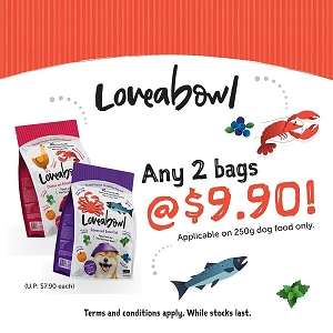 [MAY 2021 PROMO] Tasty Loveabowl DOG 250g x 2 at $9.90