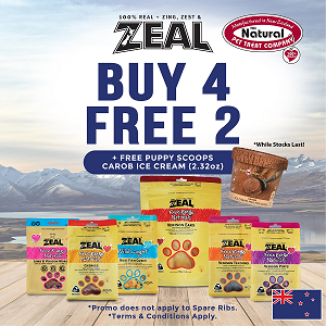[JAN 2021 Promo - Buy 4 Free 2 + Free Small Puppy Scoop Carobs worth $11.50] Zeal Treats $19.90 range