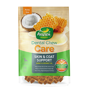 Happi Doggy Hard Dental Chew Care Skin & Coat Support