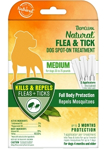 Tropiclean Natural Flea & Tick Spot On Treatment for Medium Dogs