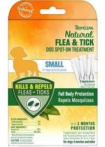 Tropiclean Natural Flea & Tick Spot On Treatment for Small Dogs