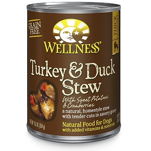 Wellness Chunks & Gravy, Turkey & Duck Stew with Sweet Potatoes & Cranberries, Canned Dog Food