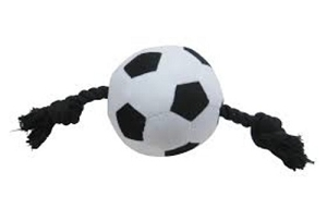 Vitakraft Euro Soccer Ball Plushie with Rope Toy