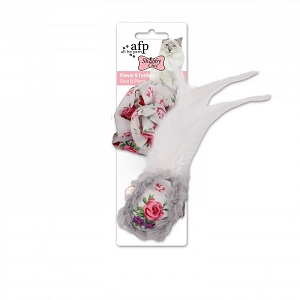 AFP Shabby Chic Cat Flower & Feather Ball