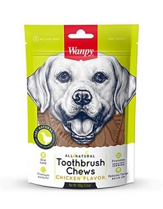 Wanpy All Natural Chicken Toothbrush Chew Dog Treats