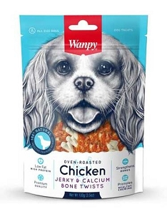 Wanpy Oven-Roasted Chicken & Calcium Bone Twists Dog Treats