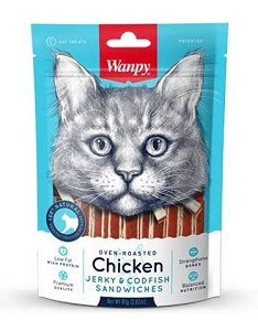 Wanpy Oven-Roasted Chicken & CodFish Sandwich Cat Treats