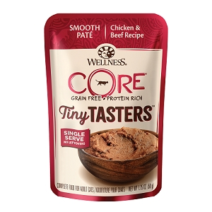 Wellness CORE Tiny Tasters Chicken & Beef Pate Grain-Free Cat Food Pouch