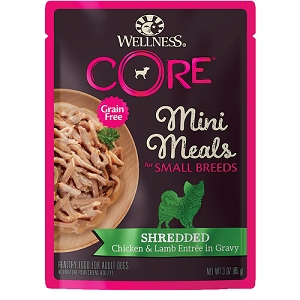 Wellness Small Breed Mini Meals Shredded Chicken & Lamb Entree in Gravy