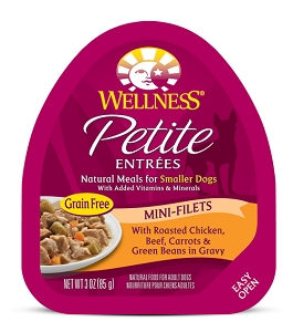 Wellness Small Breed Petite Entrees Mini-Filets Roasted Chicken, Beef, Carrots & Green Beans in Gravy