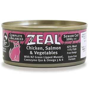 Zeal Canned Chicken, Salmon & Vegetables Senior Cat Food