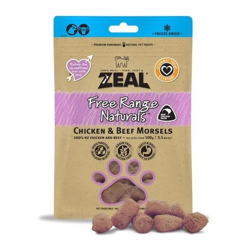 Zeal Free Range Naturals Freeze Dried Chicken & Beef Morsels Cat Treats