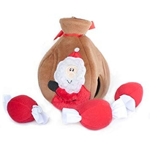 ZippyPaws Holiday Burrow Santa's Gift Bag Toy