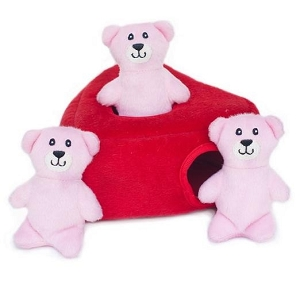 ZippyPaws Valentine's Burrow Heart 'n Bears Toy