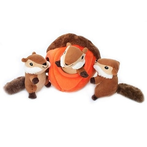 ZippyPaws Zippy Burrow Chipmunk 'n Acorn Toy