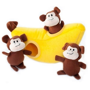 ZippyPaws Zippy Burrow Monkey 'n Banana Toy