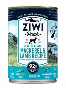 Ziwipeak Canned Dog Food Mackerel & Lamb 390gm