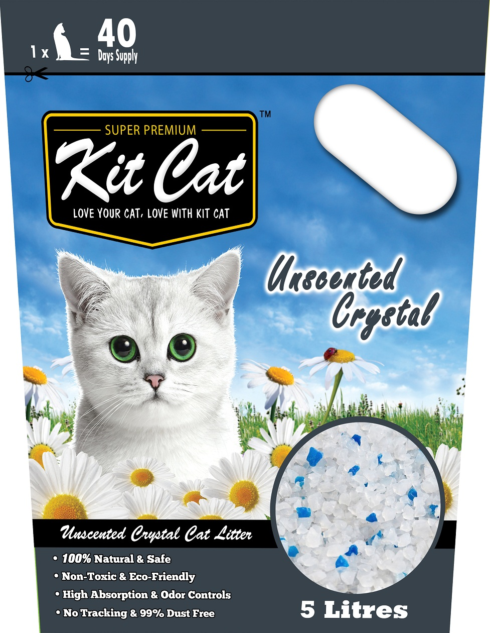 Kitcat Cat Crystal Litter Unscented 5L
