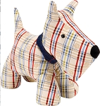 Animal Merchandise Door Stop Plaid Puppy