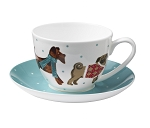 Animal Merchandise Hound Dogs Fine Bone China Cup and Saucer