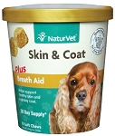 NaturVet Skin & Coat Plus Breath Aid Soft Chew Cup