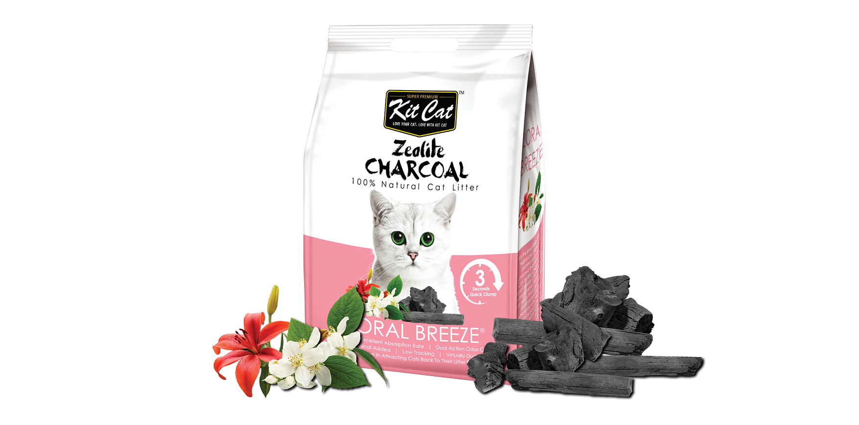 KitCat Zeolite Charcoal Cat Litter Floral Breeze 4kg
